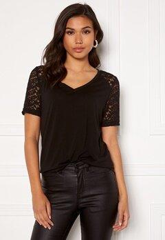Jacqueline de Yong Stinne S/S Lace Top Black Bubbleroom.dk