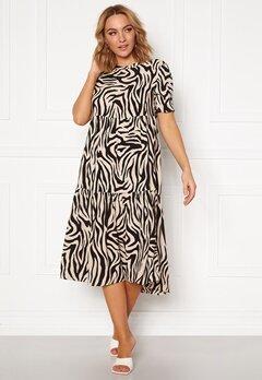 Jacqueline de Yong Tara S/S Midi Dress TapiocaBlack Zebra Bubbleroom.dk