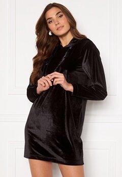 Jacqueline de Yong Velvet Hoodie Dress Black Bubbleroom.dk