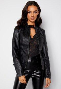 JDY Emily Faux Leather Jacket Black bubbleroom.dk