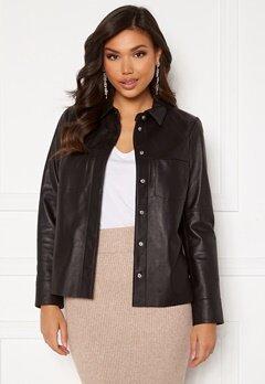 JOFAMA Anne Leather Shirt Jacket Black Bubbleroom.dk