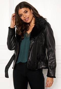 JOFAMA Emma Leather Jacket 00 Black Bubbleroom.dk