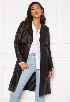 JOFAMA Jill Leather Trench Coat Black Bubbleroom.dk