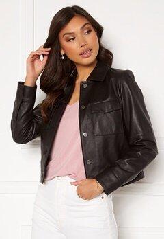 JOFAMA Lynn Leather Jacket Black bubbleroom.dk