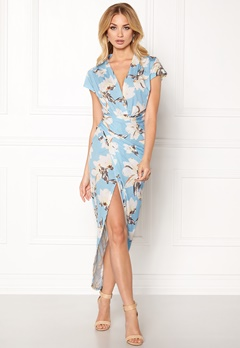 John Zack Cap Sleeve Rouch Dress Pale Blue Print Bubbleroom.dk