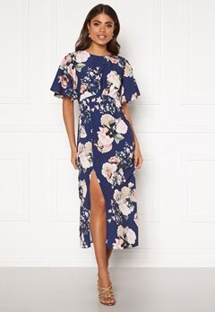 John Zack Flared Sleeve Maxi Dress Navy Floral Bubbleroom.dk