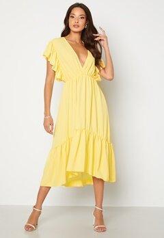John Zack Frill Sleeve V Neck Midaxi Dress Lemon Bubbleroom.dk