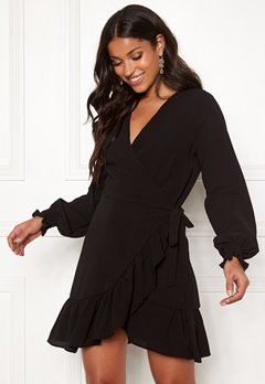 John Zack Frilly Wrap Mini Dress Black Bubbleroom.dk