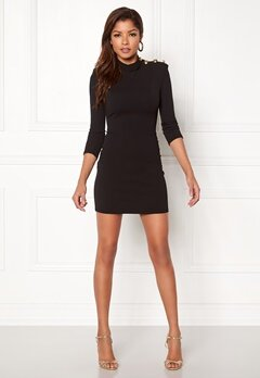 John Zack Gold Button Bodycon Dress Black Bubbleroom.dk