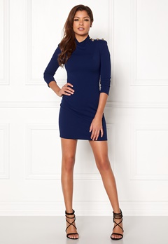 John Zack Gold Button Bodycon Dress Royal Blue Bubbleroom.dk