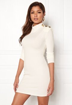 John Zack Gold Button Bodycon Dress White Bubbleroom.dk