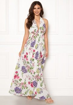 John Zack Halterneck Pleated Dress White Floral Bubbleroom.dk