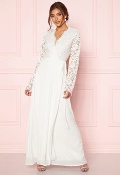 John Zack Lace Bodice Wrap Dress Ivory Bubbleroom.dk