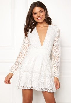 John Zack Lace Deep V Skater Dress White Bubbleroom.dk