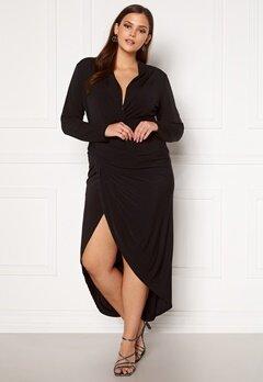 John Zack Long Sleeve Rouch Curve Dress Black Bubbleroom.dk