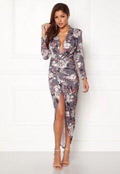 John Zack Long Sleeve Rouch Dress Grey Floral Bubbleroom.dk