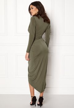 John Zack Long Sleeve Rouch Dress Khaki Bubbleroom.dk