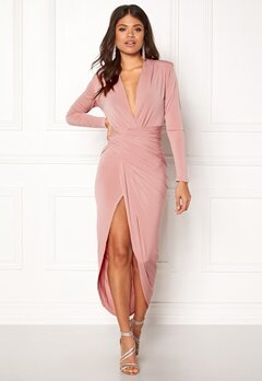 John Zack Long Sleeve Rouch Dress Rose Pink Bubbleroom.dk