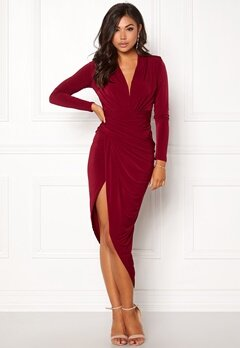 John Zack Long Sleeve Rouch Dress Wine Bubbleroom.dk
