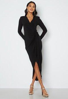 John Zack Long Sleeve Wrap Maxi Dress Black bubbleroom.dk