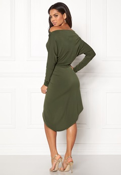 John Zack Off Shoulder Dress Khaki Bubbleroom.dk