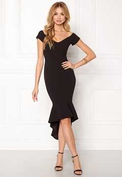 John Zack Off Shoulder High Dress Black Bubbleroom.dk