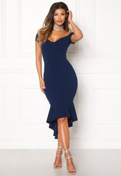 John Zack Off Shoulder High Dress Navy Bubbleroom.dk