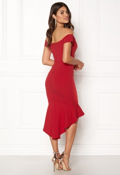 John Zack Off Shoulder High Dress Red Bubbleroom.dk