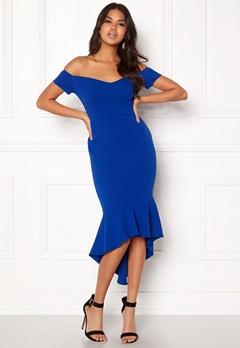 John Zack Off Shoulder High Dress Royal Blue Bubbleroom.dk