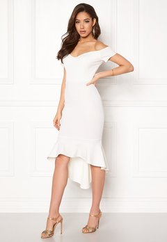 John Zack Off Shoulder High Dress White Bubbleroom.dk