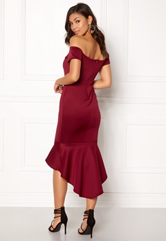 John Zack Off Shoulder High Dress Wine Bubbleroom.dk