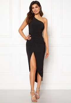John Zack One Shoulder Rouch Dress Black Bubbleroom.dk