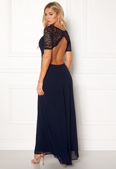 John Zack Open Back Lace Maxi Dress Navy Bubbleroom.dk
