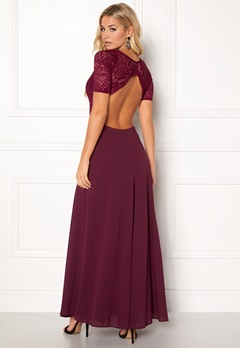 John Zack Open Back Lace Maxi Dress Wine Bubbleroom.dk