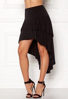 John Zack Ruffle Skirt High Low Hem Black Bubbleroom.dk
