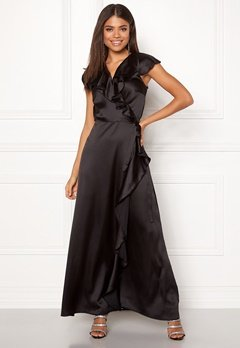 John Zack Ruffle Wrap Maxi Dress Black Bubbleroom.dk