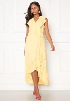 John Zack Ruffle Wrap Midaxi Dress Lemon Bubbleroom.dk
