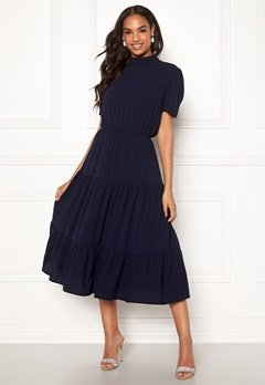 John Zack Short Sleeve Tiered Dress Navy Bubbleroom.dk