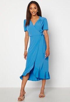 John Zack Short Sleeve Wrap Dress Dusty Blue Bubbleroom.dk