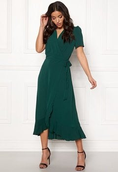 John Zack Short Sleeve Wrap Dress green Bubbleroom.dk