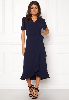 John Zack Short Sleeve Wrap Dress Navy Bubbleroom.dk