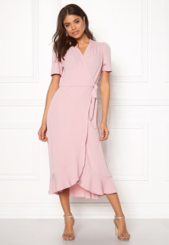 John Zack Short Sleeve Wrap Dress Pink Bubbleroom.dk