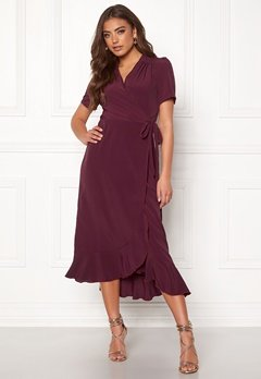 John Zack Short Sleeve Wrap Dress Wine Bubbleroom.dk