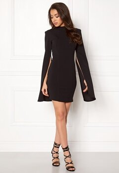 John Zack Split Bodycon Dress Black Bubbleroom.dk