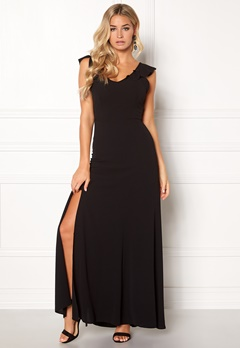 John Zack Tie Back Frill Maxi Dress Black Bubbleroom.dk