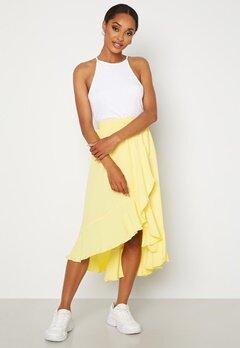 John Zack Wrap Frill Midi Skirt Lemon Bubbleroom.dk