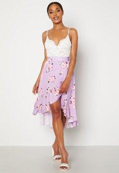 John Zack Wrap Frill Midi Skirt Printed Lilac Print Bubbleroom.dk