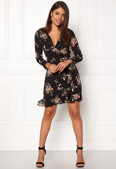 John Zack Wrap Frill Mini Dress Black Ditsy Floral Bubbleroom.dk