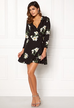 John Zack Wrap Frill Mini Dress Black Large Floral Bubbleroom.dk