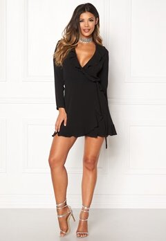 John Zack Wrap Frill Mini Dress Black Bubbleroom.dk